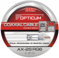 COAXIAL CABLE OPTICUM 2S RG6 90dB Double Shield 6,8 mm PVC 100 meters