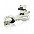 Kabel USB 3w1 Micro USB Iphone 5/6 iPad 3G biały