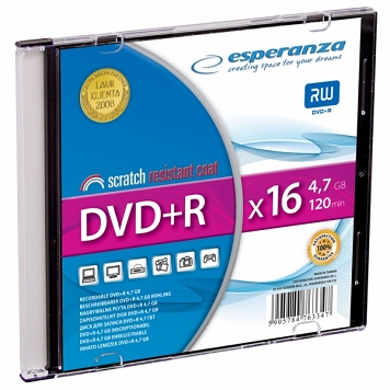 DVD+R ESPERANZA 4,7GB X16 - SLIM CASE 1 SZT.